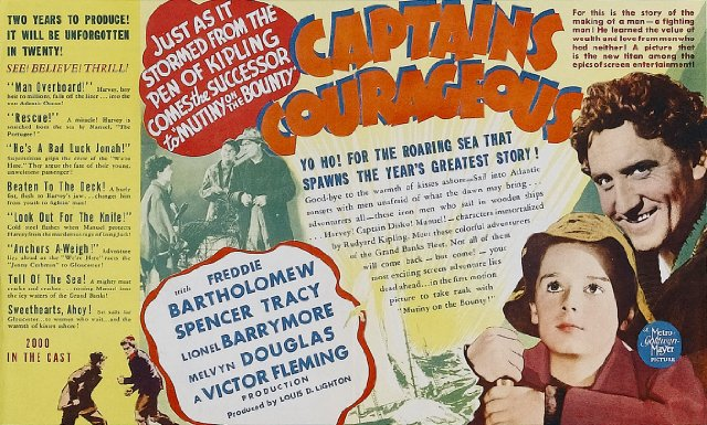 a review of the film captains courageous The film opened in 1934, and master bartholomew, as he was then  he said the  movie he most enjoyed making was captains courageous.